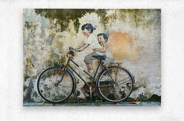 bicycle children graffiti art  Metal print