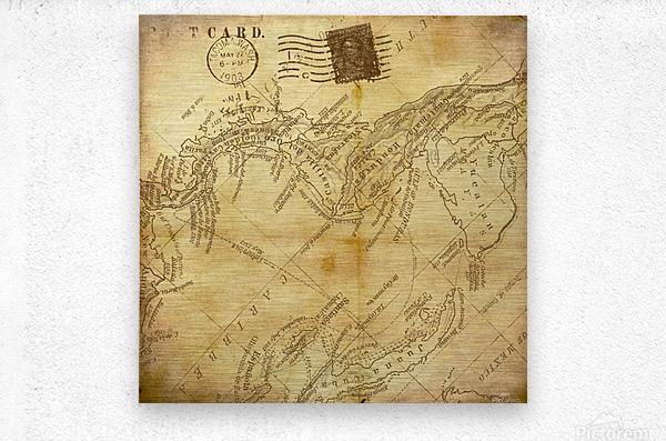 vintage map background paper  Metal print