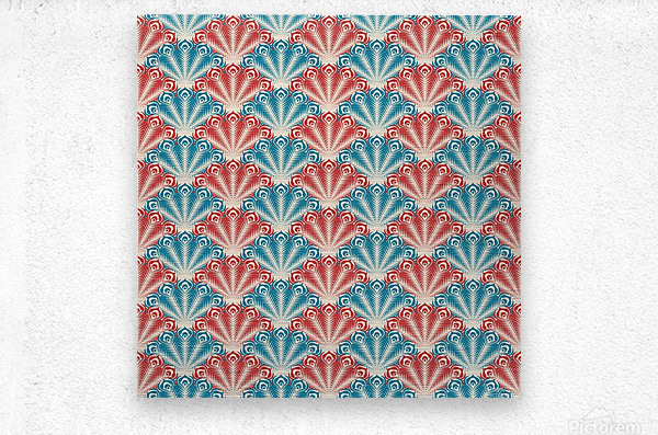 seamless patter peacock feathers  Metal print