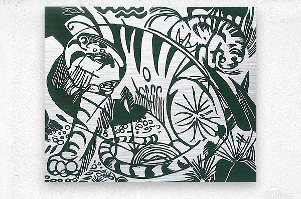 Tiger -2- by Franz Marc  Metal print