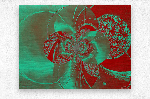 Emerald and Red Circular Patterns  Metal print