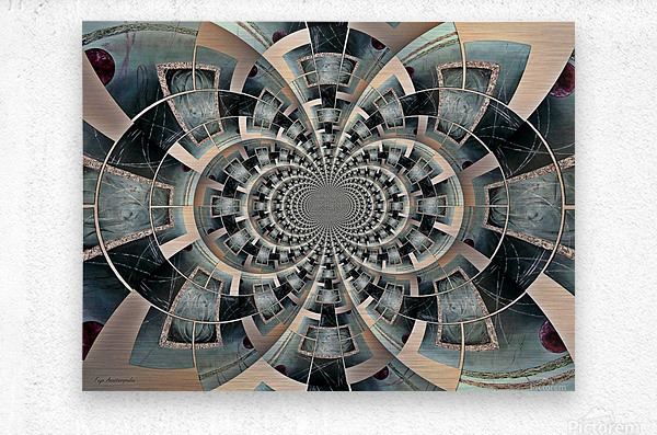 Graphic Ornamental Silver  Metal print