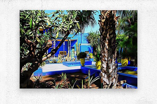 Yellow and Blue Contrasts Jardin Majorelle  Metal print