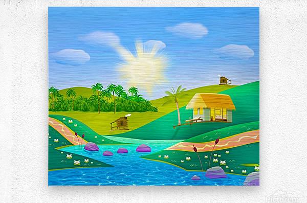 tropical resort huts lake river  Metal print