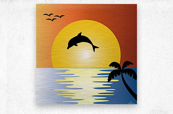 ocean sunset dolphin palm tree  Metal print