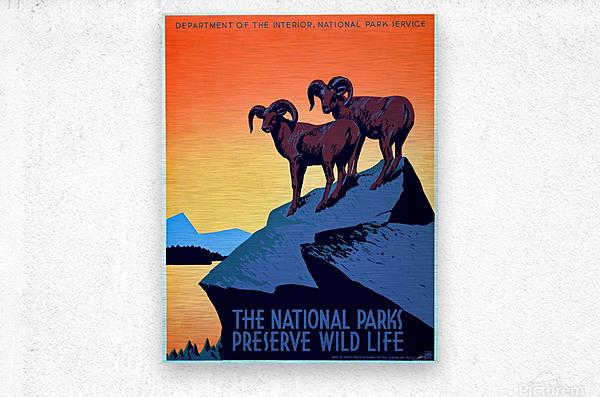 vintage poster retro advertisement  Metal print