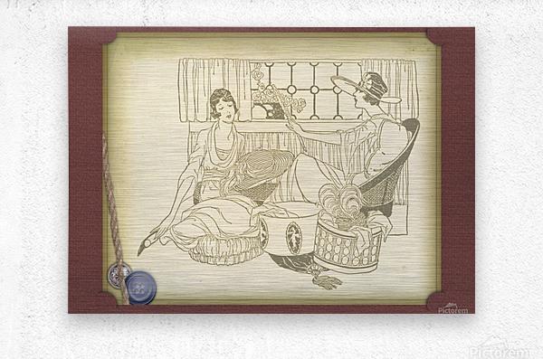 vintage card greeting ladies  Metal print