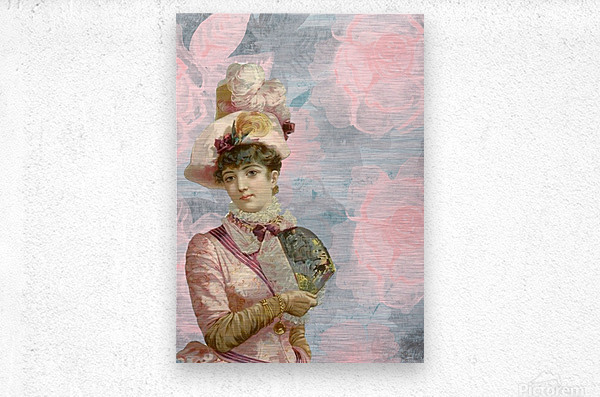 french vintage girl feathers  Metal print