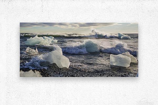 Ice bergs on Jokulsarlon beach Iceland  Metal print