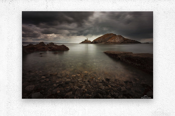 Rough weather over Mumbles lighthouse  Metal print