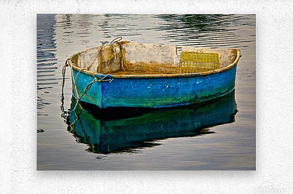 Anchored Boat at Dawn  Metal print