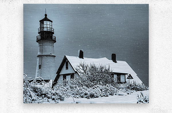 Snowing at Portland Head Lighthouse  Metal print