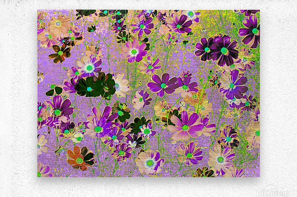 Flowers Garden Purple  Metal print