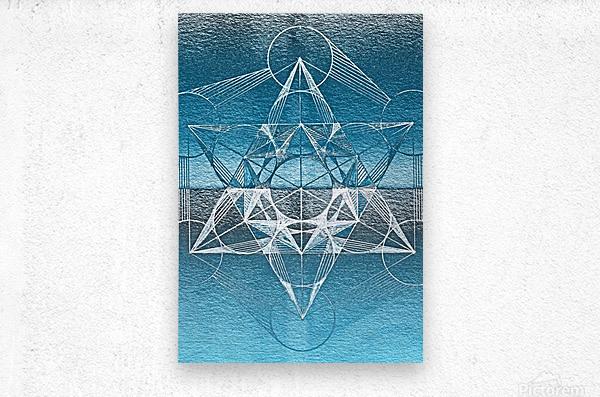 Cube of Metatrone Handdrawing  Metal print