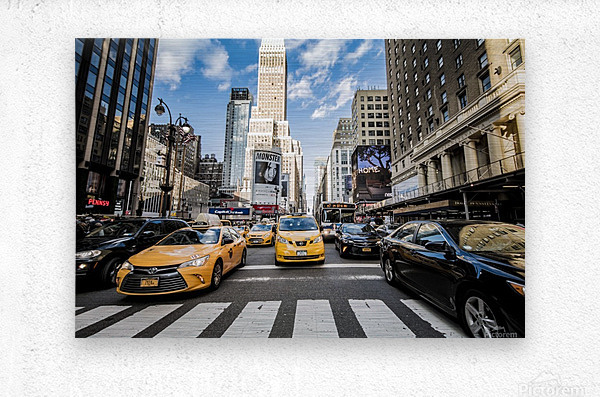 New York City Taxi Mayhem   Metal print