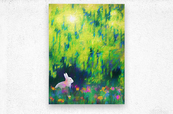 Bunny beneath the Willow Tree  Metal print