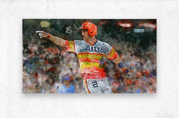 ALEX BREGMAN Water Color Print - Houston Astros print   Metal print