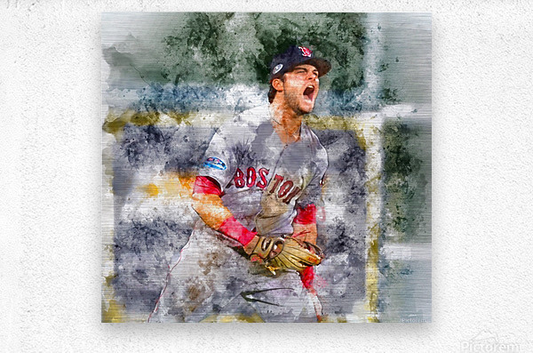 ANDREW BENINTENDI Water Color Print - Boston Red Sox Print  Metal print