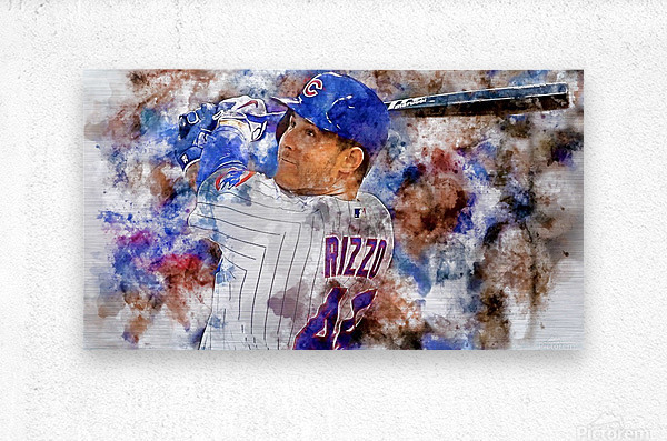 ANTHONY RIZZO Water Color Print - Chicago Cubs Print  Metal print