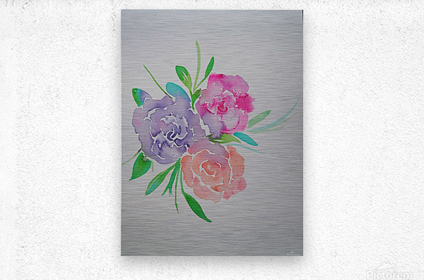 Watery roses  Metal print