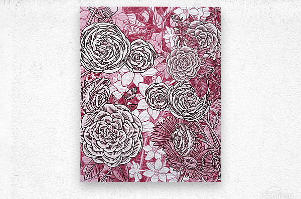 Watercolor Botanical Flowers Garden Pink Flowerbed IV  Metal print