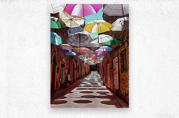 Festa Umbrellas Paciano With Shadows  Metal print