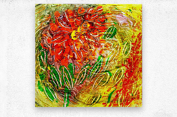 orange flower energy abstraction  Metal print