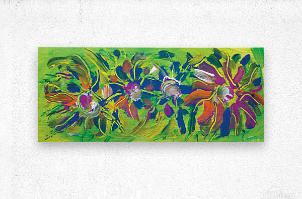 abstract multicolored flowers  Metal print