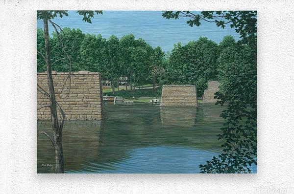 Stone Piers Housatonic River - Newtown Scenes 18 X 24   Metal print