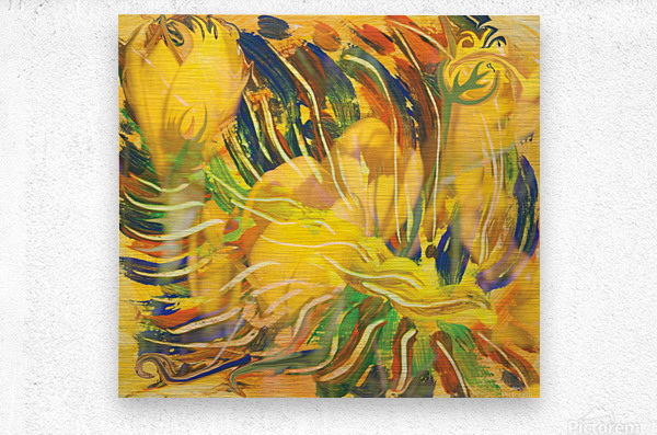 yellow flowers abstraction  Metal print