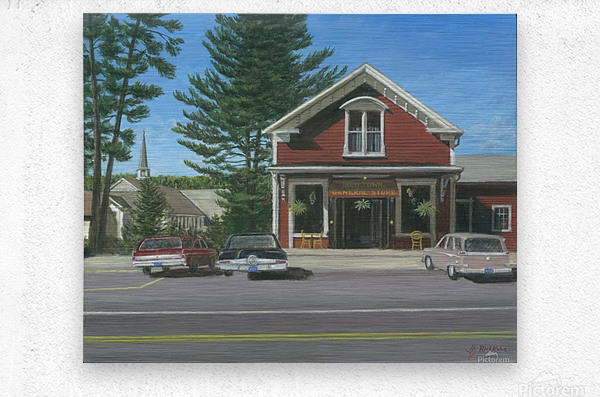 Church House and Store - Newtown Scenes 16X20  Metal print
