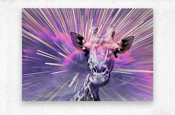 Giraffe pop 1  Metal print