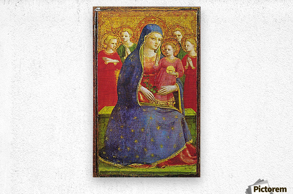 Virgin with the child and four angels  Metal print