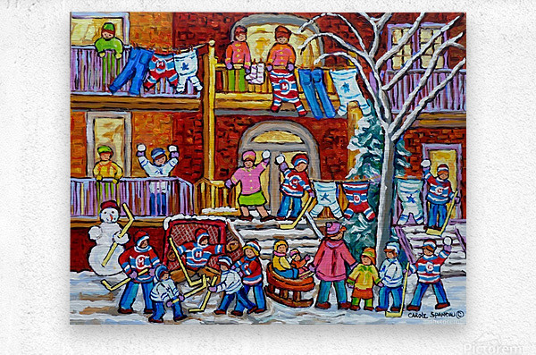MONTREAL WINTER PORCH SCENE FUN WITH SNOW  Metal print