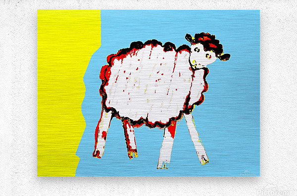 Little Aussie Sheep - Blue  Metal print