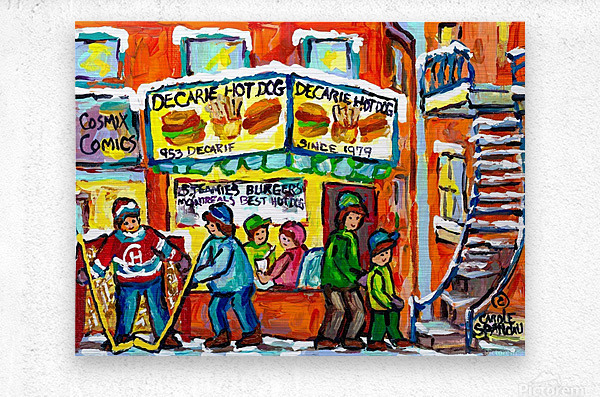 DECARIE HOT DOG MONTREAL WINTER SCENE PAINTING  Metal print
