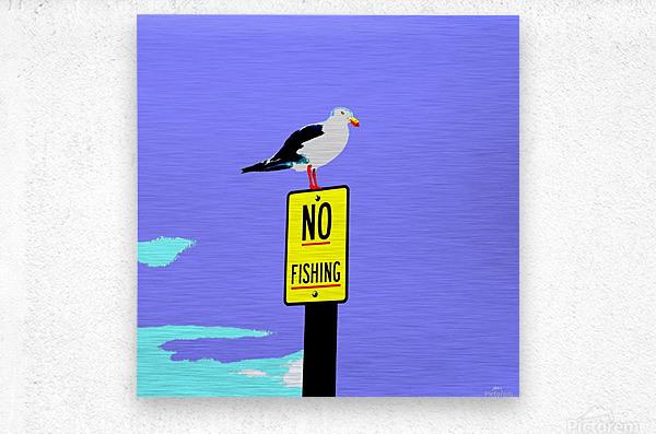 NO Fishing - Blue  Metal print