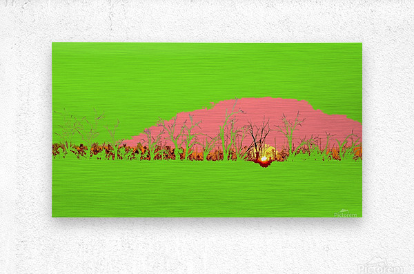 Lake Sunset - Green  Metal print