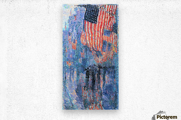 Street in the rain by Hassam  Metal print