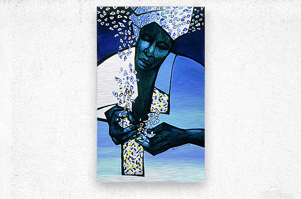 blue fragments  Metal print