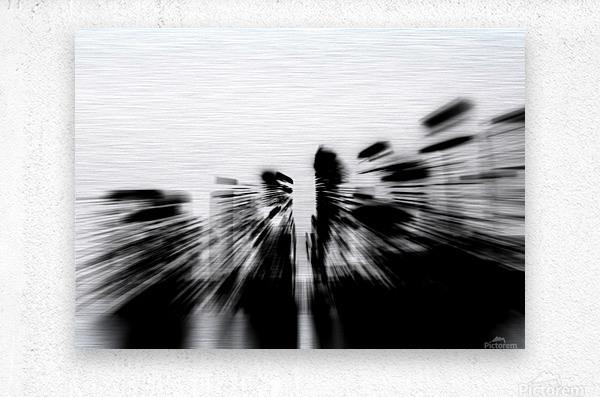 City radials in blackwhite  Metal print