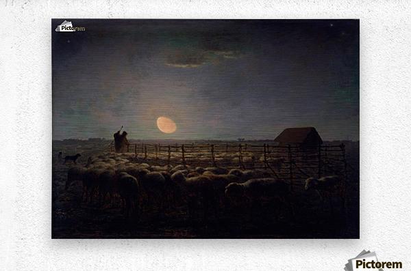 The Sheepfold, Moonlight  Metal print