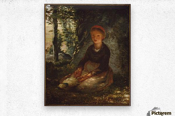 Shepherdess seated in the shade  Metal print