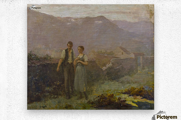 A courting couple  Metal print