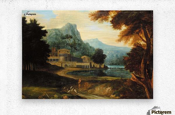 Castle wilh lake near mountains  Metal print