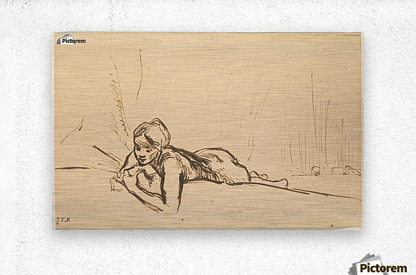 Nude reclining in a landscape  Metal print