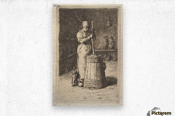 Woman churning butter  Metal print