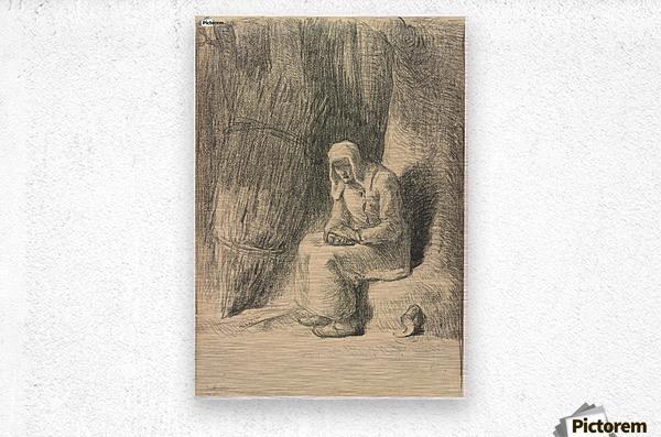 Woman seated beside a tree  Metal print