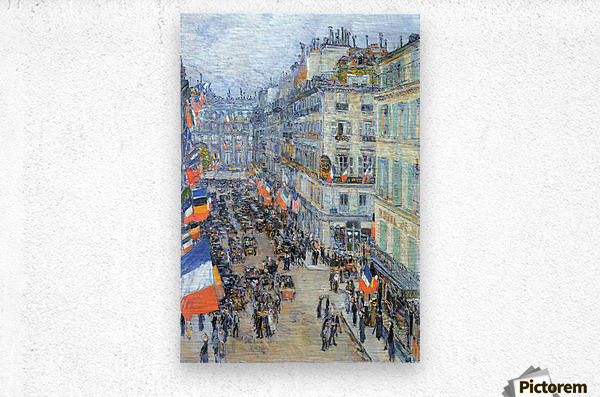 The 14th July, Rue Daunou by Hassam  Metal print