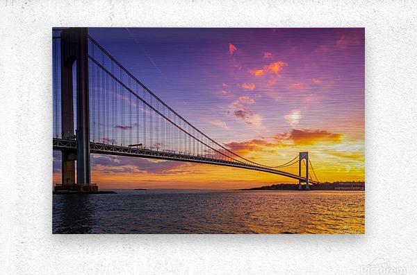 Verrazano bridge at sunset  Metal print